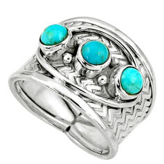925 sterling silver 1.77cts blue arizona mohave turquoise ring size 7 r38028
