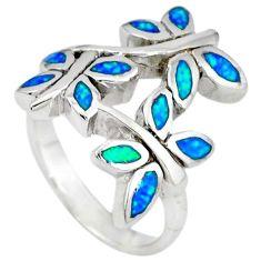 925 sterling silver blue australian opal (lab) butterfly ring size 5.5 c22982