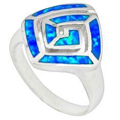 925 sterling silver blue australian opal (lab) enamel ring size 6 c22997