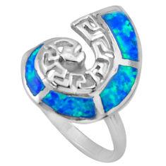 925 sterling silver 4.26gms blue australian opal (lab) enamel ring size 8 c26247