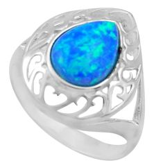 925 sterling silver 3.32cts blue australian opal (lab) pear ring size 9 c26248