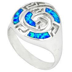 925 sterling silver blue australian opal (lab) ring jewelry size 9.5 c15870