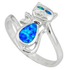 925 sterling silver blue australian opal (lab) ring jewelry size 10.5 c15785