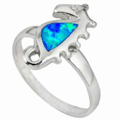 925 sterling silver blue australian opal (lab) seahorse ring size 6.5 c22989