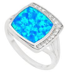 925 sterling silver 2.81cts blue australian opal (lab) topaz ring size 7 c22993