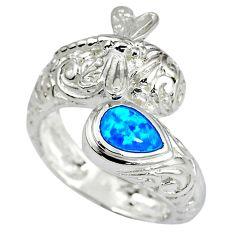 925 sterling silver blue australian opal ring jewelry size 8 c15864