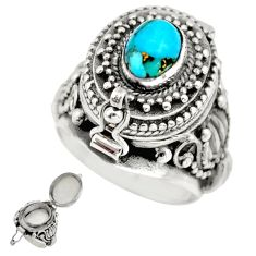 925 sterling silver 2.18cts blue copper turquoise poison box ring size 8 r41184