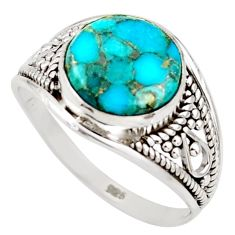 925 sterling silver 4.62cts blue copper turquoise solitaire ring size 8 r35428