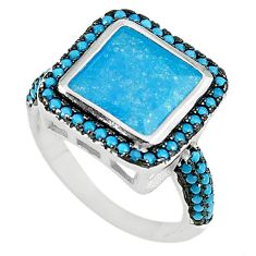 925 sterling silver blue crack crystal chalcedony ring jewelry size 7 c22935