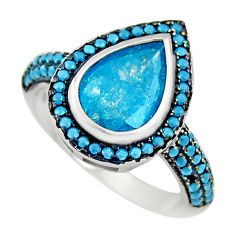 925 sterling silver 6.36cts blue crack crystal turquoise ring size 6.5 c9380