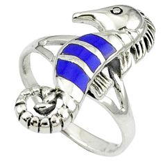 925 sterling silver blue lapis enamel seahorse ring jewelry size 8.5 c12194