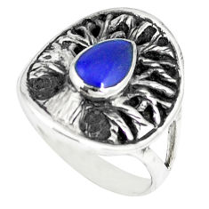925 sterling silver blue lapis enamel tree of life ring jewelry size 6.5 c12358