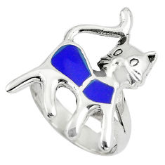 925 sterling silver 4.69gms blue lapis lazuli enamel cat ring size 6.5 c12822