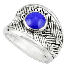 925 sterling silver blue lapis lazuli enamel ring jewelry size 7.5 c12165