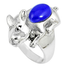 925 sterling silver 2.11cts blue lapis lazuli rabbit charm ring size 6.5 c12231