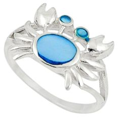 925 sterling silver blue pearl enamel crab ring jewelry size 6 c21915