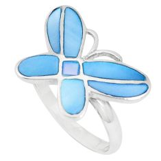 925 sterling silver 4.47gms blue pearl enamel ring jewelry size 7 c12224
