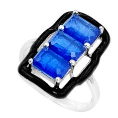 925 sterling silver 4.73cts blue sapphire (lab) enamel ring size 6.5 c19344