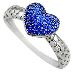 925 sterling silver 1.52cts blue sapphire (lab) heart ring jewelry size 9 c9453