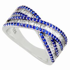 925 sterling silver 4.01cts blue sapphire (lab) round topaz ring size 6.5 c9157