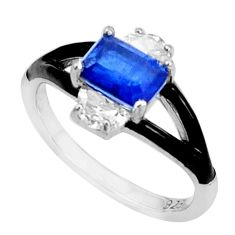 925 sterling silver 2.95cts blue sapphire (lab) topaz enamel ring size 6 c19294