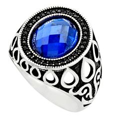 925 sterling silver 5.94cts blue sapphire (lab) topaz mens ring size 10.5 c9795