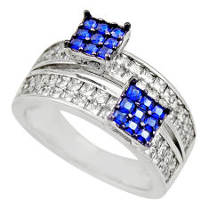 925 sterling silver 3.63cts blue sapphire (lab) topaz ring jewelry size 7 c9365