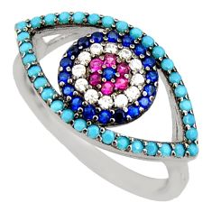 925 sterling silver 2.58cts blue sapphire (lab) turquoise ring size 7 c9164
