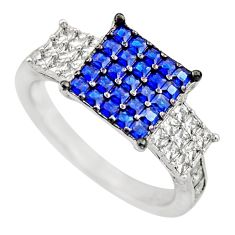 925 sterling silver 2.97cts blue sapphire (lab) white topaz ring size 6.5 c9377