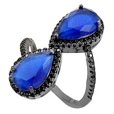 925 sterling silver blue sapphire quartz topaz black rhodium ring size 8 c19277