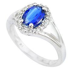 925 sterling silver blue sapphire quartz white topaz ring size 7.5 c20583