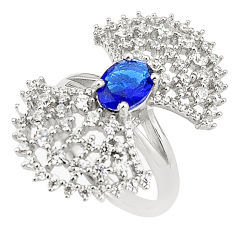 925 sterling silver blue sapphire quartz white topaz ring size 8 c19223