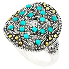 925 sterling silver blue sleeping beauty turquoise marcasite ring size 5 c20783