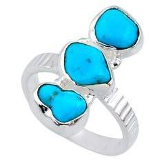 925 sterling silver 11.15cts blue sleeping beauty turquoise ring size 6.5 r65619