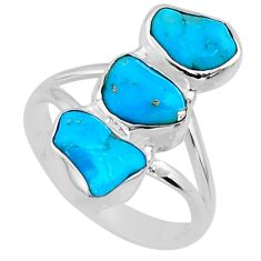 925 sterling silver 9.83cts blue sleeping beauty turquoise ring size 7 r65615