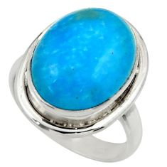 925 sterling silver 10.48cts blue smithsonite oval solitaire ring size 7 r28514