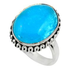 925 sterling silver 11.95cts blue smithsonite oval solitaire ring size 8 r28490