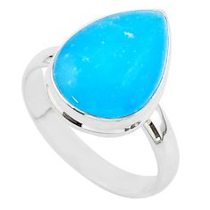 925 sterling silver 9.61cts blue smithsonite pear solitaire ring size 10 r95764