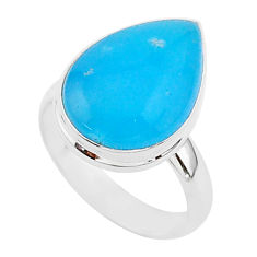 925 sterling silver 8.75cts blue smithsonite pear solitaire ring size 7 r95768
