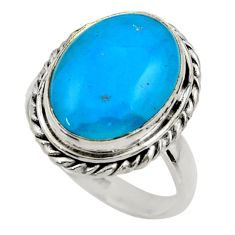 925 sterling silver 10.70cts blue smithsonite solitaire ring size 8.5 r28484