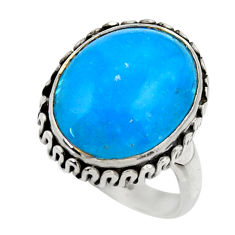 925 sterling silver 10.48cts blue smithsonite solitaire ring size 7 r28494