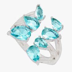 925 sterling silver 4.92cts blue topaz quartz adjustable ring size 6 c9054