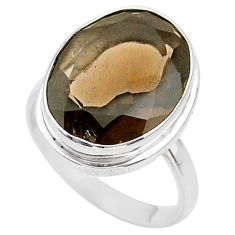 925 sterling silver 10.37cts brown smoky topaz oval ring jewelry size 7 t33944