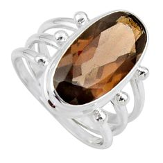 925 sterling silver 8.27cts brown smoky topaz oval solitaire ring size 8 r55996