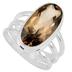 925 sterling silver 8.41cts brown smoky topaz oval solitaire ring size 8 r58676