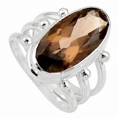 925 sterling silver 8.27cts brown smoky topaz solitaire ring size 7.5 r55992