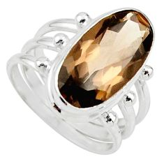 925 sterling silver 8.47cts brown smoky topaz solitaire ring size 7.5 r55998