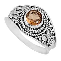 925 sterling silver 1.16cts brown smoky topaz solitaire ring size 8.5 r57988