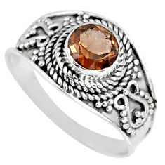 925 sterling silver 1.31cts brown smoky topaz solitaire ring size 8.5 r58574
