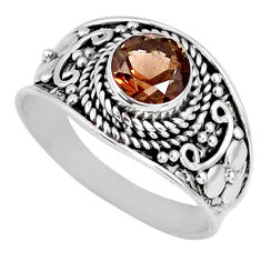 925 sterling silver 1.36cts brown smoky topaz solitaire ring size 7.5 r58580